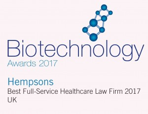 Hempsons -2017 Biotechnology Awards Logo (BI170003) winners logo